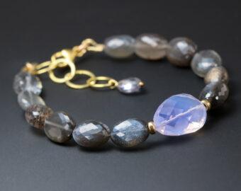 Lavender Black Gemstone Bracelet, Semi Precious Stone Bracelet