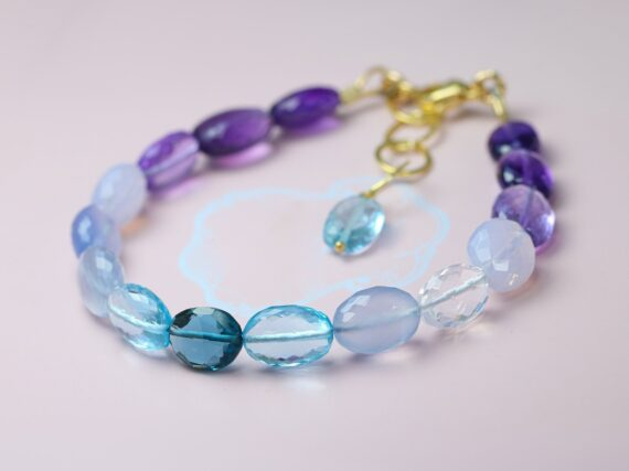 Lavender Blue Purple Gemstone Bracelet, Semi Precious Stone Bracelet, One of a Kind