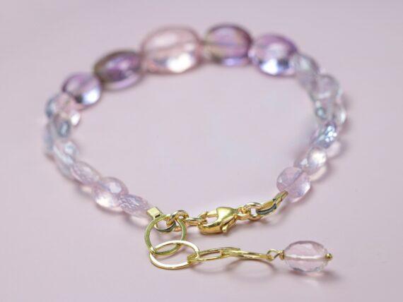 Rose Quartz Pink Amethyst Bracelet, Semi Precious Gemstone Bracelet, One of a Kind