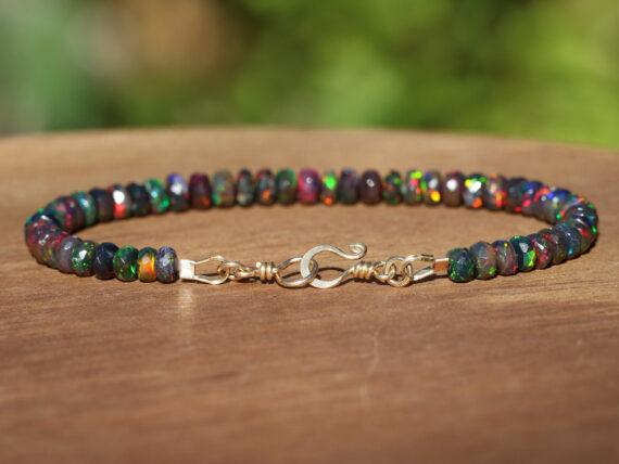 Black Opal Bracelet in Gold Filled