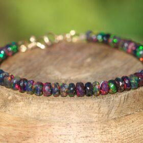 The Spell Bracelet – Black Opal Bracelet in Gold Filled