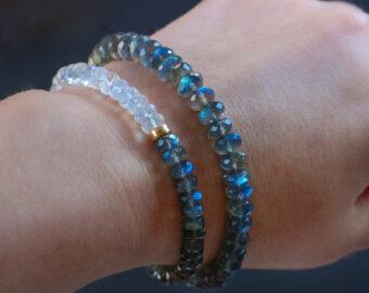 Solid Gold 14K Blue Fire Labradorite Bracelet