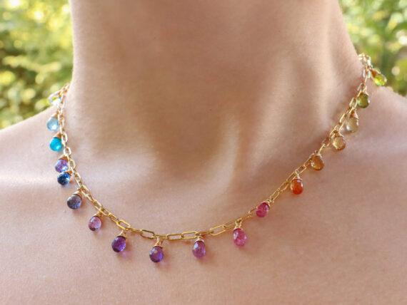 Rainbow Precious Drop Gemstone Necklace