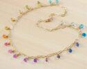 Solid Gold 14K Rainbow Precious Drop Gemstone Necklace