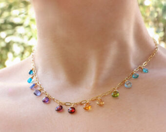 Rainbow Precious Gemstone Necklace