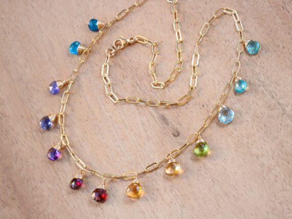 Solid Gold 14K Rainbow Precious Gemstone Necklace