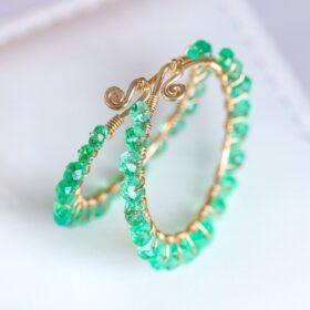The Esmeralda Earrings – Solid Gold 14K Emerald Hoop Earrings, Colombian Emerald Earrings