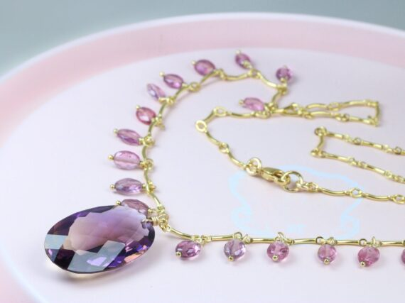 Ametrine Necklace with Purple and Pink Spinel, Statement Necklace in Gold Filled, One of a Kind