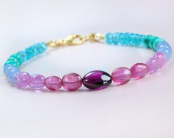 Multi Gemstone Bracelet with Garnet, Pink Sapphires and Turquoise