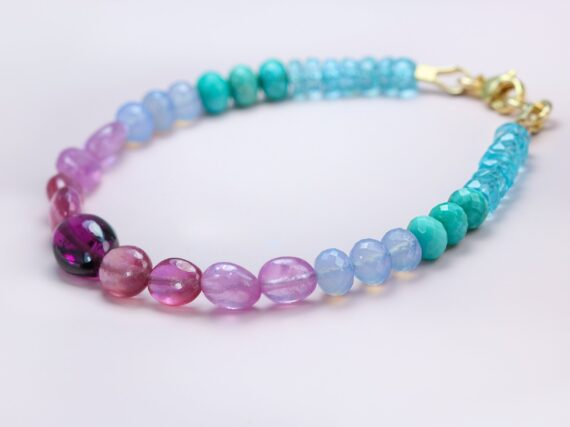 Solid Gold 14K Multi Gemstone Bracelet with Garnet, Pink Sapphires and Turquoise