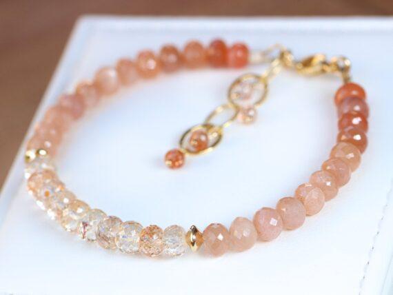 Oregon Sunstone and Peach Moonstone Gemstone Bracelet, One of a Kind