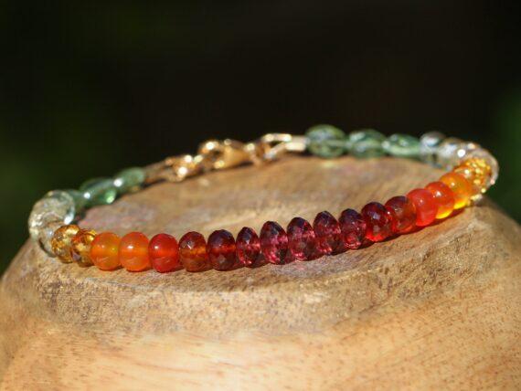 SOLID GOLD 14K Multi Gemstone Bracelet with Garnet, Carnelian, Citrine and Green Kyanite