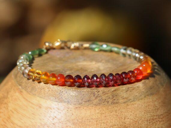 Multi Gemstone Bracelet with Garnet, Carnelian, Citrine and Green Kyanite