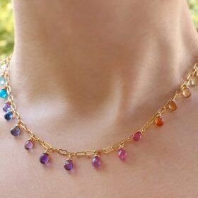 The Destiny Necklace – Solid Gold 14K Rainbow Precious Drop Gemstone Necklace