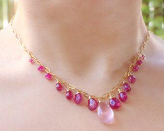 Solid Gold 14K Rose Quartz and Pink Sapphires Pink Gemstone Necklace