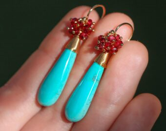 Turquoise with Red Spinel Gemstone Cluster Earrings, One of a Kind