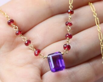 Amethyst and Red Spinel Wire Wrapped Rosary Necklace