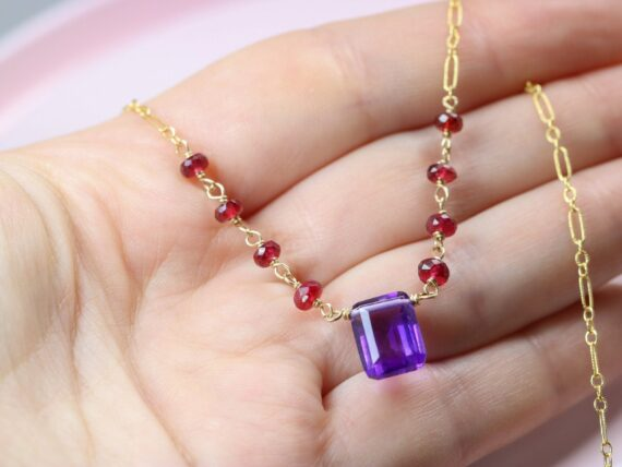 Solid Gold 14K Amethyst and Red Spinel Wire Wrapped Rosary Necklace