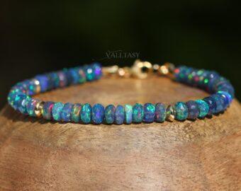 Blue Black Opal Bracelet, Genuine Ethiopian Opal Bracelet