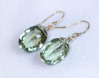 Genuine Green Amethyst Oval Earrings in Gold Filled