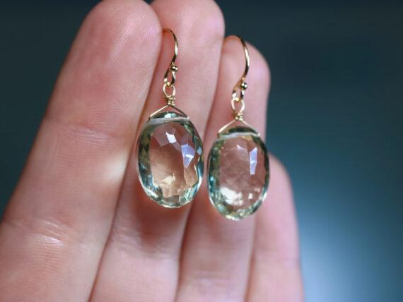 Solid Gold 14K Genuine Green Amethyst Oval Earrings