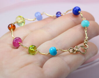 Rainbow Precious Gemstone Bracelet Wire Wrapped in Gold Filled