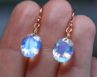 Solid Gold 14K Oval Rainbow Moonstone Earrings