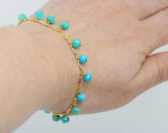 Turquoise and Amazonite Aqua Blue Gemstone Bohemian Bracelet
