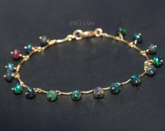 Ethiopian Black Opal Dainty Gemstone Bracelet