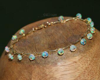 Ethiopian Opal Dainty Gemstone Bohemian Bracelet