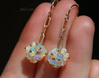 Ethiopian Opal Dangle Earrings, Ethiopian Opal Chain Earrings