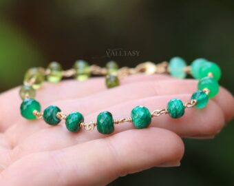 Malachite, Peridot and Chrysoprase Green Gemstone Bracelet