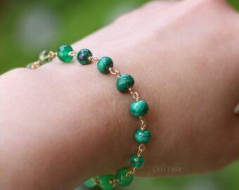 Solid Gold 14K Malachite, Peridot and Chrysoprase Green Gemstone Bracelet
