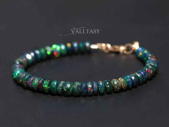 Solid Gold 14K Black Opal Bracelet