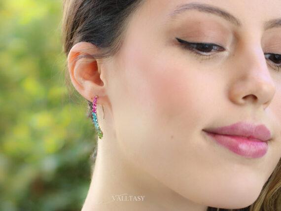Rubellite Pink, Green and Paraiba Blue Tourmaline Earrings, Modern Linear Gemstone Earrings