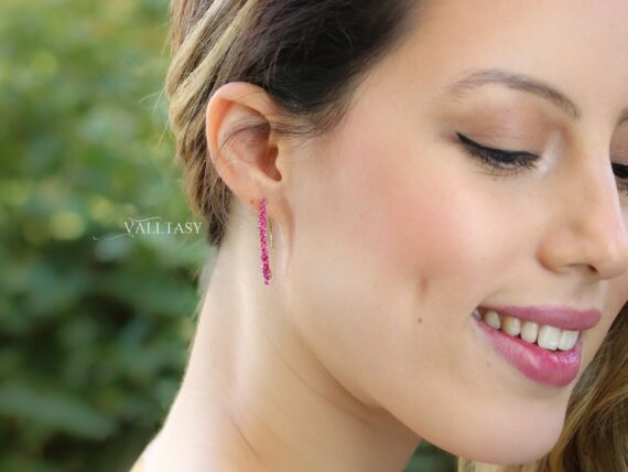 Rubellite Pink Tourmaline and Iolite Open Hoops, Mismatched Earrings Set