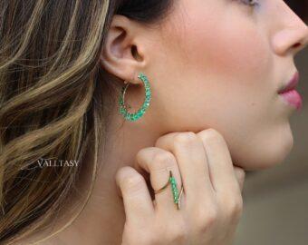 Solid Gold 14K Emerald Hoop Earrings, Colombian Emerald Earrings