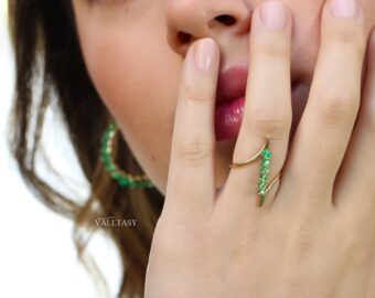 Solid Gold 14K Emerald Ring, One of a Kind