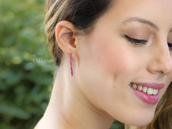 Solid Gold 14K Rubellite Pink Tourmaline and Iolite Open Hoops, Mismatched Earrings Set
