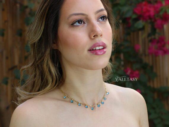 Solid Gold 14K Swiss Blue Topaz Precious Gemstone Necklace