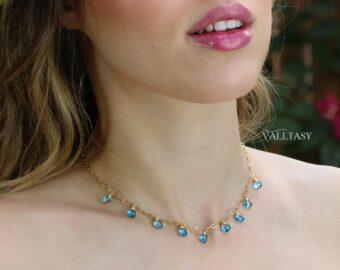 Swiss Blue Topaz Precious Gemstone Necklace