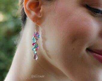Solid Gold 14K Aqua Blue Apatite, Pink Topaz and Pink Amethyst Gemstone Earrings