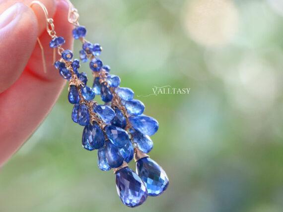 Blue Kyanite Earrings, Blue Long Cluster Gemstone Earrings