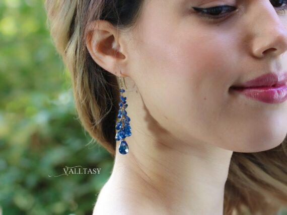 Solid Gold 14K Blue Kyanite Earrings, Blue Long Cluster Gemstone Earrings