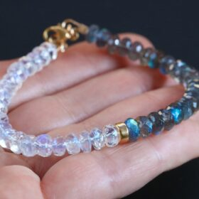 My Other Half Bracelet – Labradorite and Rainbow Moonstone Blue Fire Bracelet