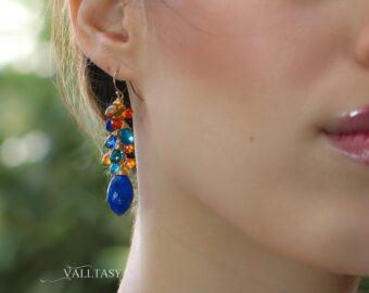Lapis Lazuli, Kyanite and Citrine Cluster Gemstone Earrings