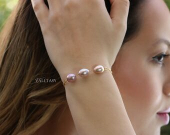 Peach and Pink Pearl Bracelet, High Luster Pearl Trio Chain Bracelet or Necklace