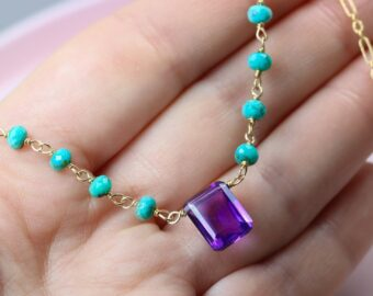 Solid Gold 14K Amethyst and Turquoise Wire Wrapped Rosary Necklace