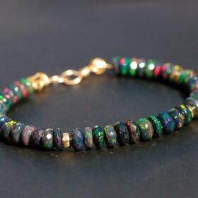 The Essence Bracelet – Solid Gold 14K Black Opal Bracelet, Ethiopian Opal Bracelet