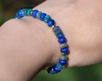 Solid Gold 14K Blue Black Opal and Lapis Lazuli Bracelet, Genuine Ethiopian Opal Bracelet